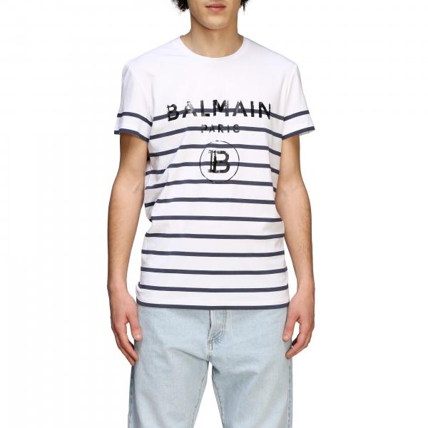 Balmain striped T-shirt with logo