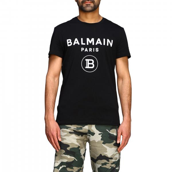 Balmain short-sleeved T-shirt with flocked logo