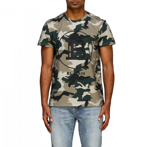 Balmain camouflage short-sleeved T-shirt with flocked logo