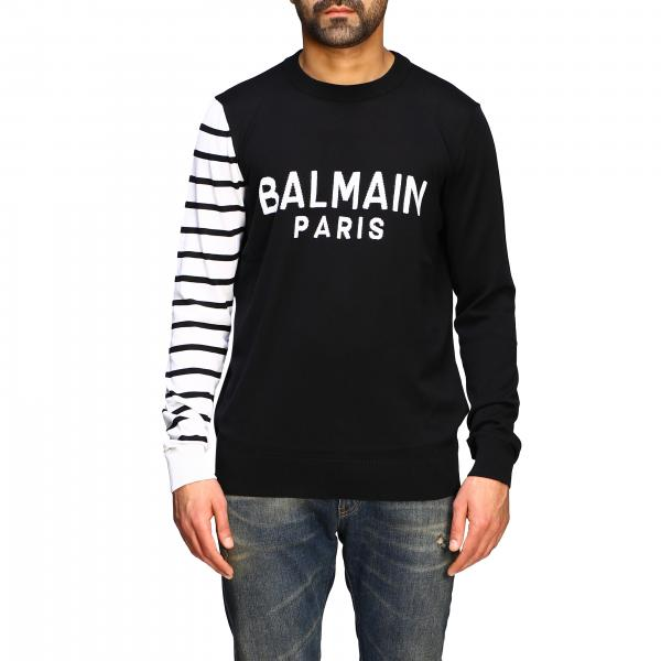 Balmain crew neck sweater with logo and striped sleeve
