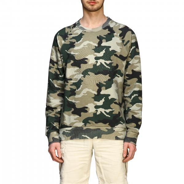 Balmain camouflage sweatshirt with flocked logo and zip