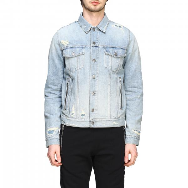 Balmain denim jacket with maxi embossed logo