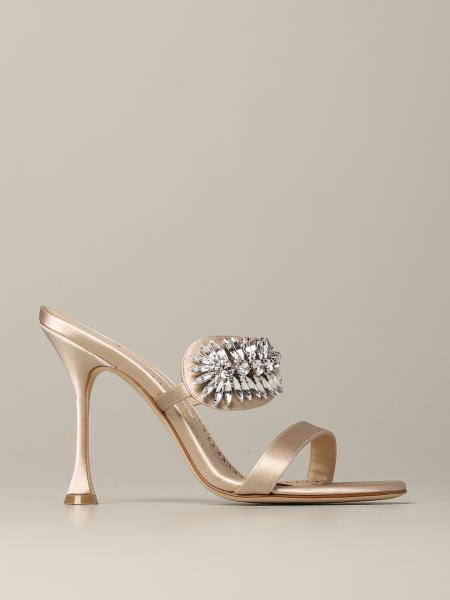 Heeled sandals skysan manolo blahnik sandal in satin with rhinestones Manolo Blahnik - Giglio.com