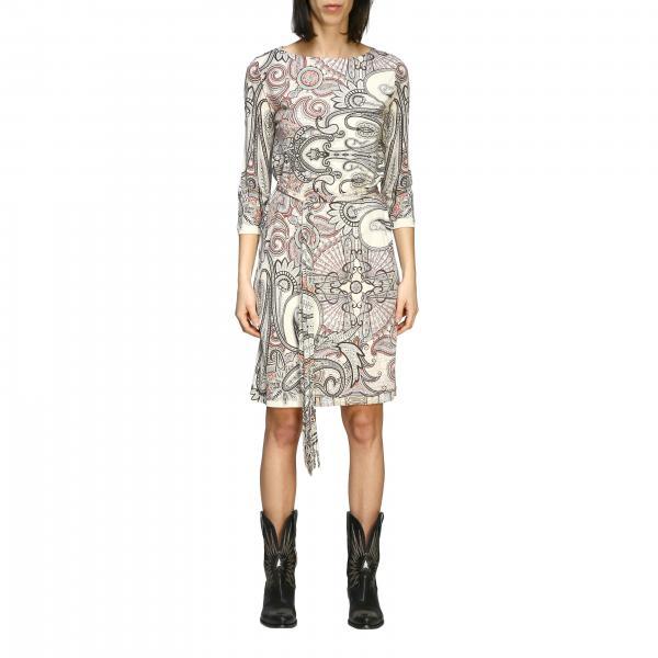 Etro Jersey Kleid mit Paisley-Print und Gürtel