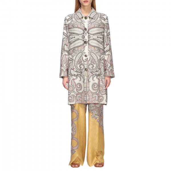 Etro silk coat with paisley print