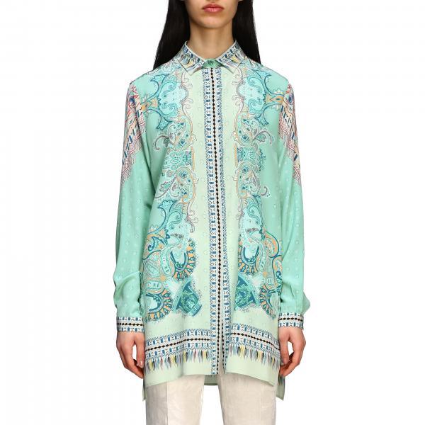 Camicia Etro lunga in seta con stampa paisley