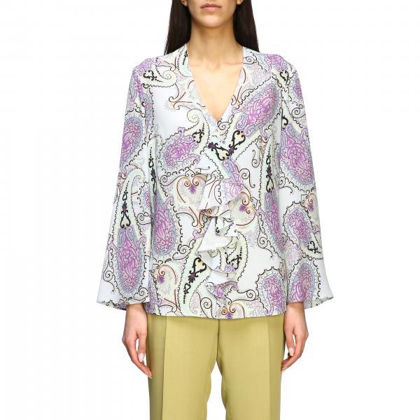 Camicia Etro lunga in seta con stampa paisley e rouches