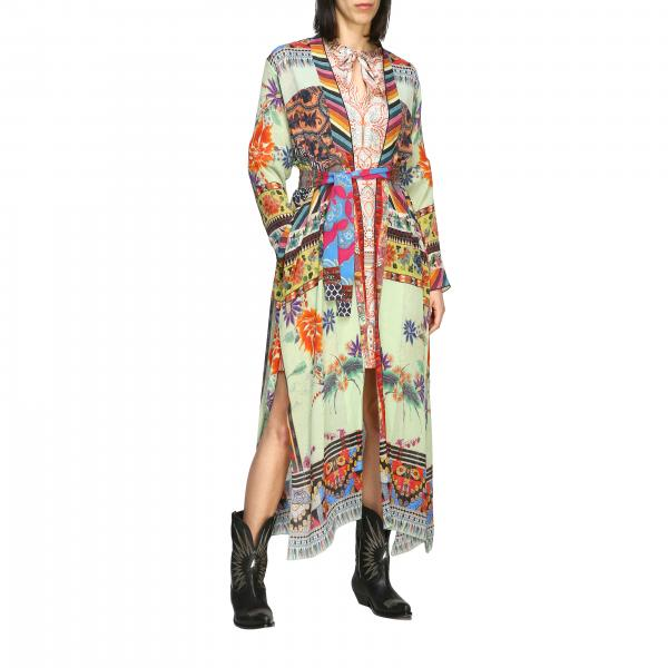 Etro creponne silk cardigan with patchwork print and belt