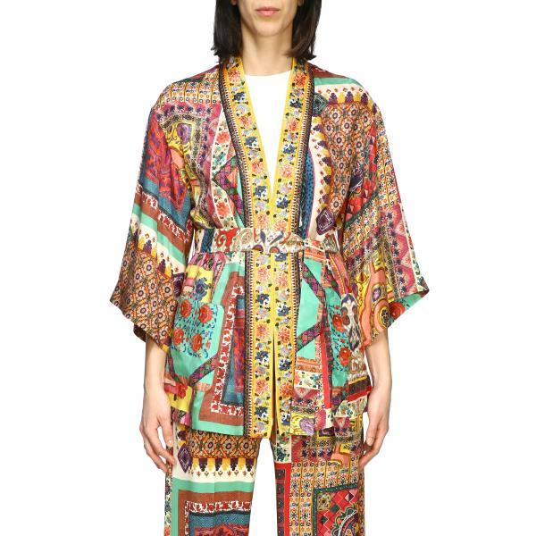 Etro silk cardigan with patchwork print and belt