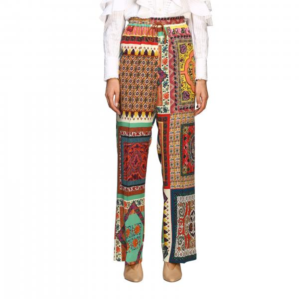 Etro wide trousers in patchwork patterned silk