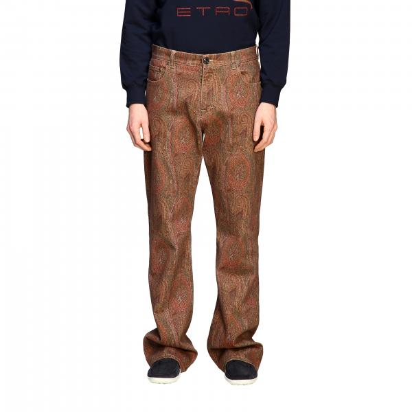 Etro flaire denim jeans with arnica print