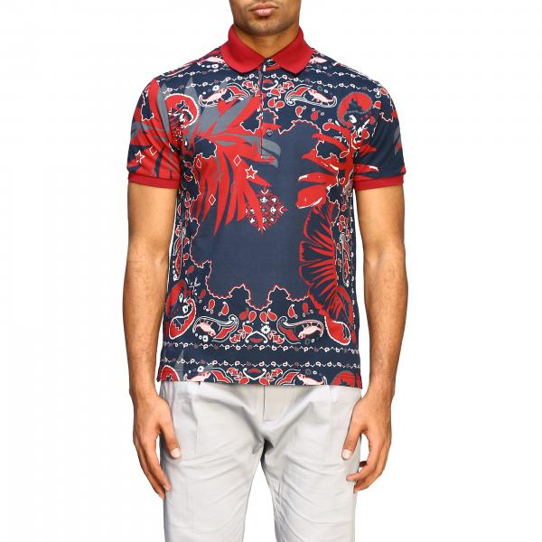 Etro polo shirt with short sleeves and bandana pattern