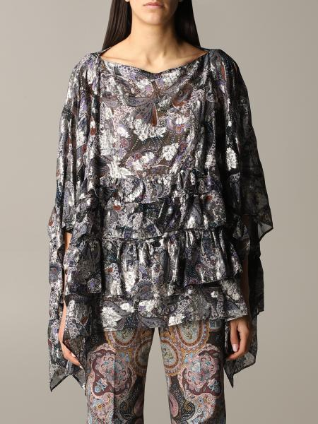 Euro poncho with floral pattern flounces