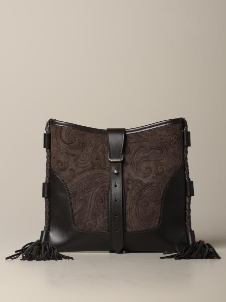 Etro 佩斯利图案绒面革手袋