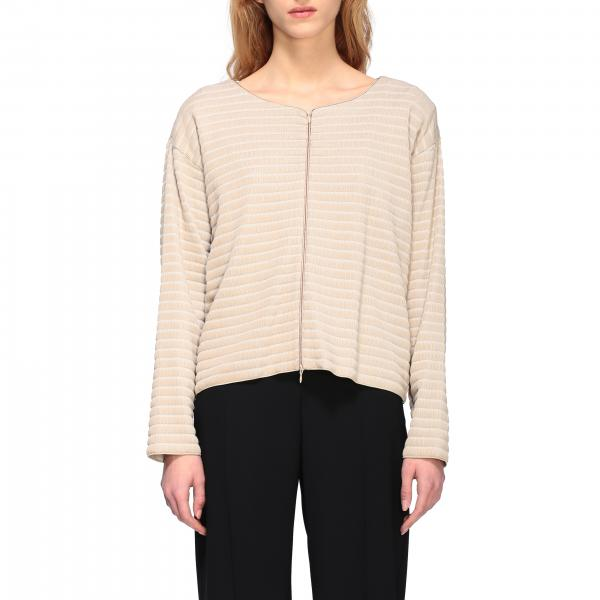 Emporio Armani cardigan in ribbed jacquard with zip