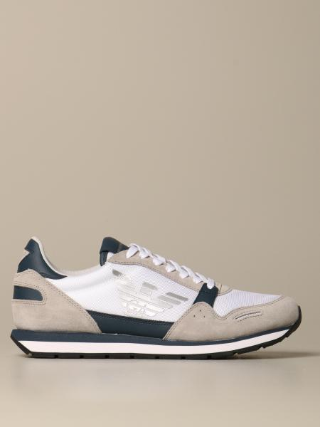 Emporio Armani 帆布绒面革运动鞋