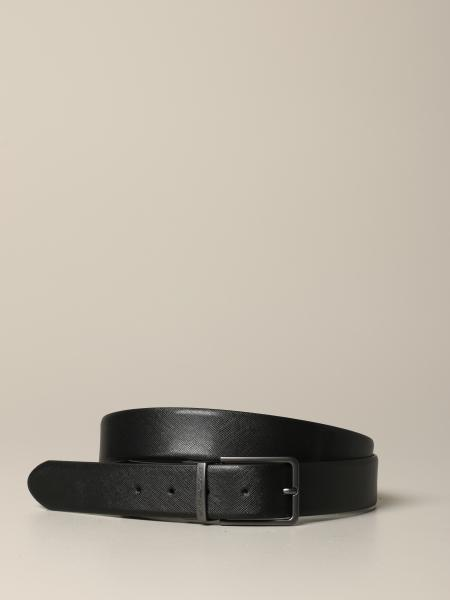 Cintura Emporio Armani in pelle saffiano reversibile