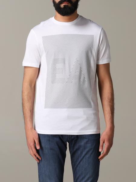 Emporio Armani 条纹logo印花T恤