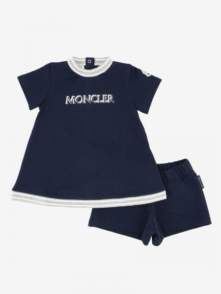 Moncler cotton dress with logo and shorts