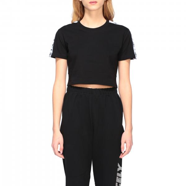 T-shirt Chiara Ferragni cropped con bande logate
