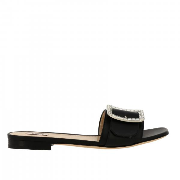 Bally Janna flat cristal sandal in leather with rhinestone buckle