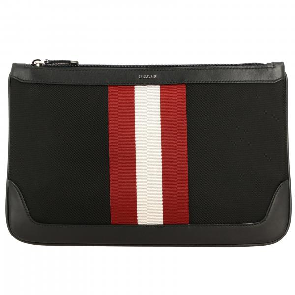 Pochette Cayard Bally in canvas e pelle con banda a righe