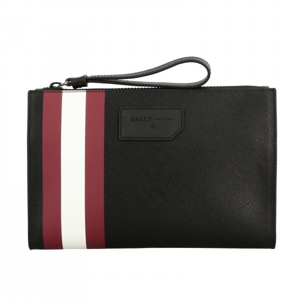 Pochette Skid.of Bally in pelle saffiano con banda a righe