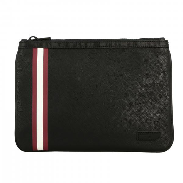 Bex.md.of Bally clutch bag in saffiano leather with striped band