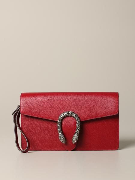Gucci Dionysus leather clutch with flap and rhinestone buckle