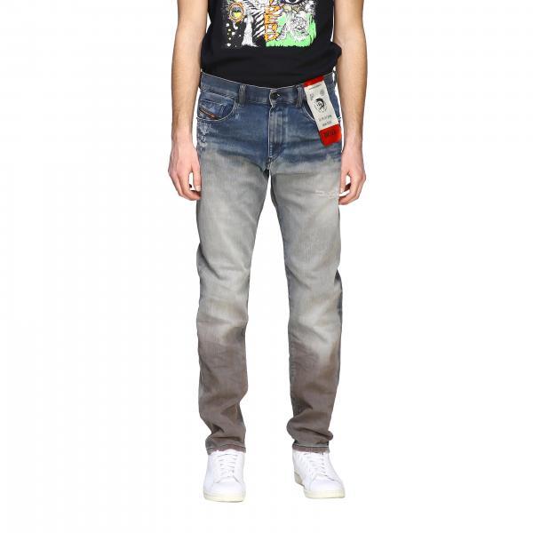 Diesel D-Strukt Jeans aus Used Stretch-Denim mit normaler Taille