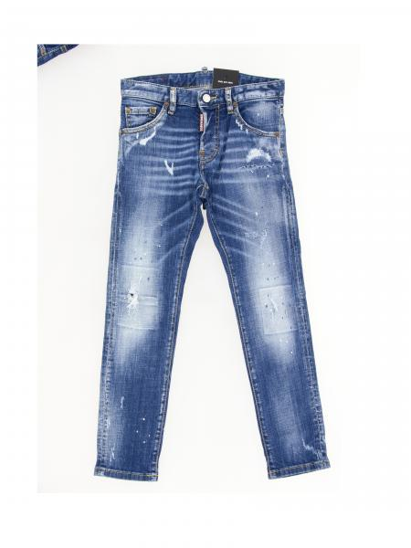 Jeans Cool guy Dsquared2 Junior en denim usé avec des déchirures