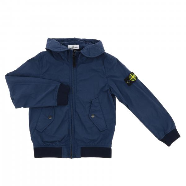 Stone Island Junior jacket in garment dyed cotton canvas
