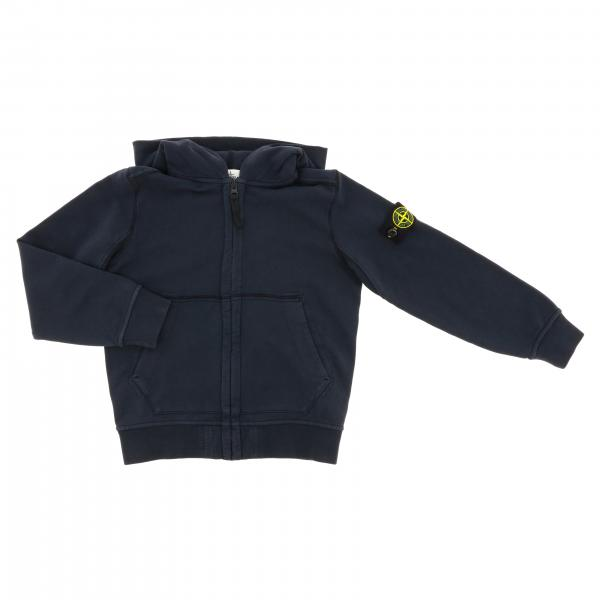 Sweat à capuche en coton Stone Island Junior