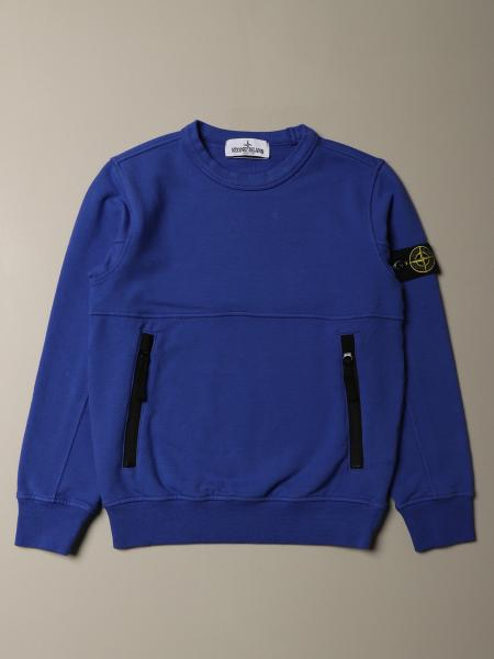 Sweat Stone Island Junior à col rond en coton bistretch