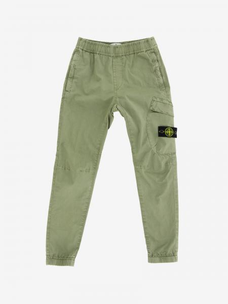 Pantalon Stone Island Junior en toile de coton stretch