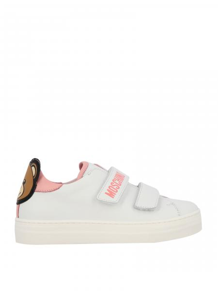 Sneakers Moschino Teen in pelle con tallone teddy