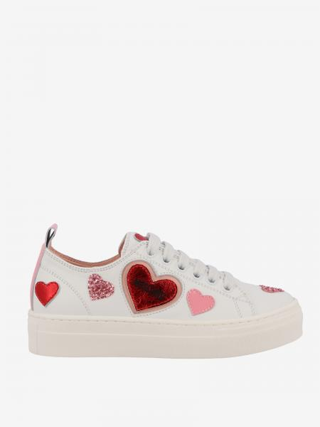 Sneakers Moschino Teen in pelle con cuori
