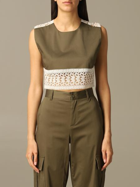 Top L'autre Chose cropped in cotone con ricami