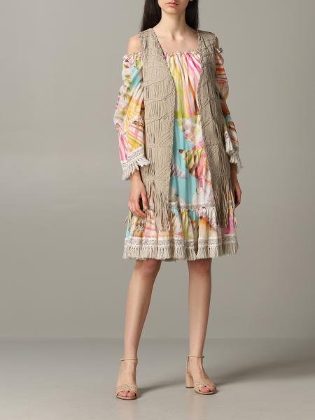 Gilet Blumarine in maglia intrecciata con frange