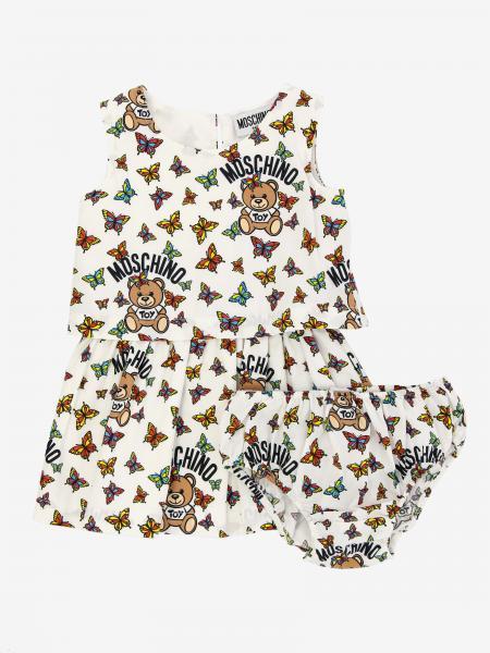 Abito Moschino Baby con stampa farfalle e Teddy