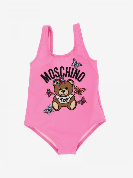 Moschino Baby 泰迪熊印花连体泳装