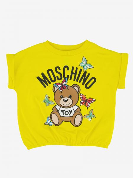 Moschino Kid cropped t-shirt with teddy and butterflies