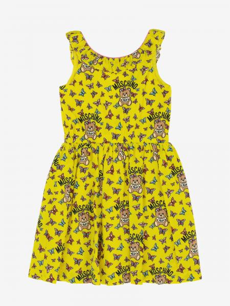 Moschino Kid dress with Teddy print and all over butterflies