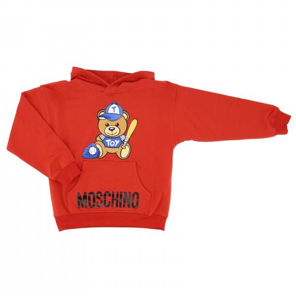 Moschino Kid 泰迪熊印花连帽卫衣