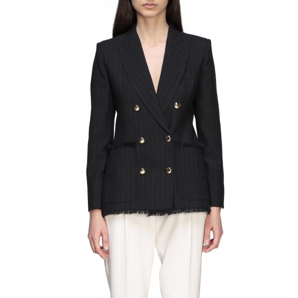 Max Mara double-breasted jacket with fringes