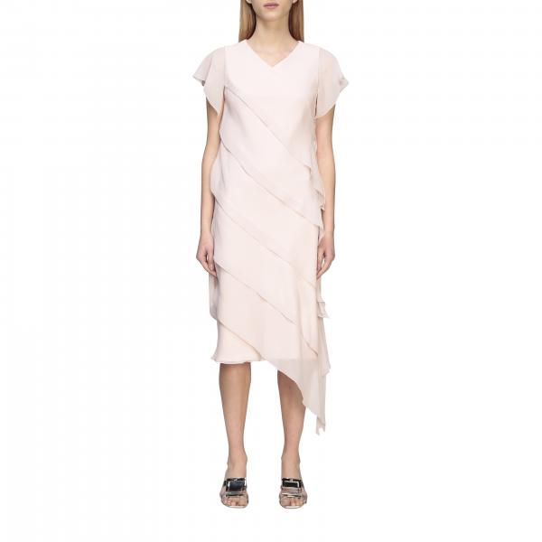 Max Mara Bamby long dress in georgette with flounces