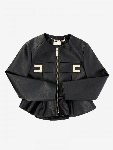 Elisabetta franchi jacket in synthetic leather with logo