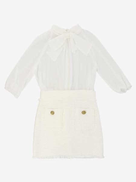 Robe bi-matière Elisabetta Franchi avec jupe bouclée