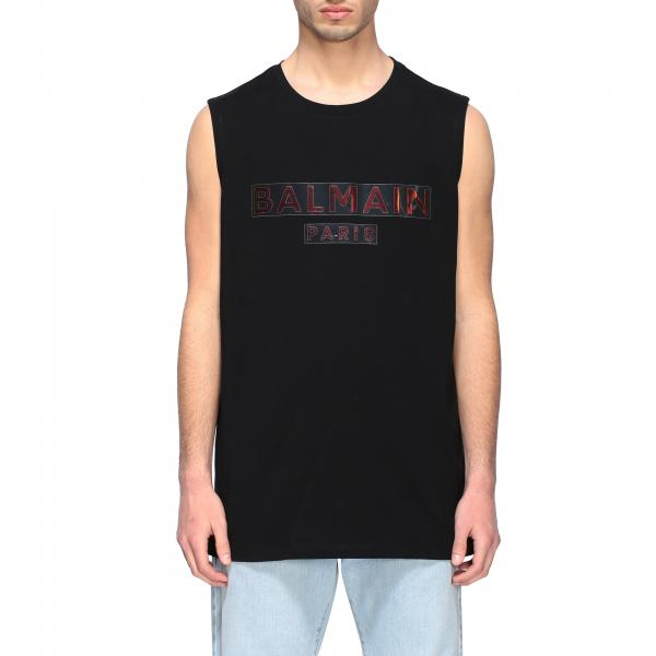 Balmain round neck tank top with iridescent logo