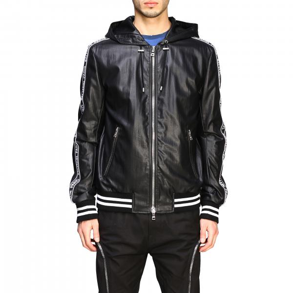 Balmain hooded bomber in synthetic leather with logoed bands